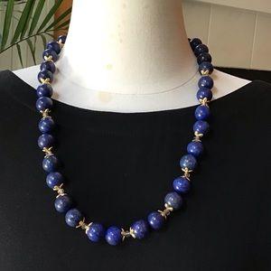 "Vintage 18K Lapis Lazuli Gorgeous Necklace 21"""